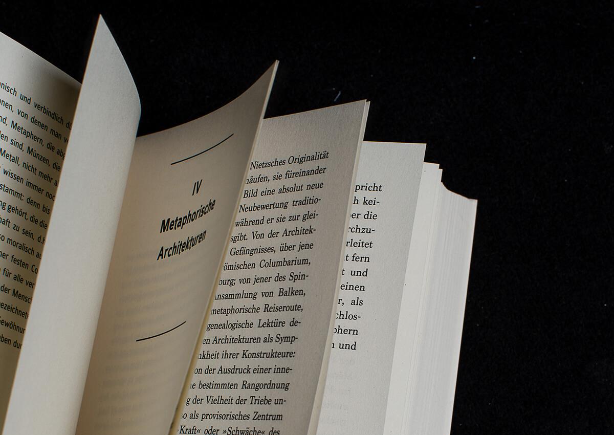 Denken Handeln Buchgestaltung Cover Innensatz Layout Fine Heininger Wolff Verlag Sarah Kofman Grafik Design Gestaltung