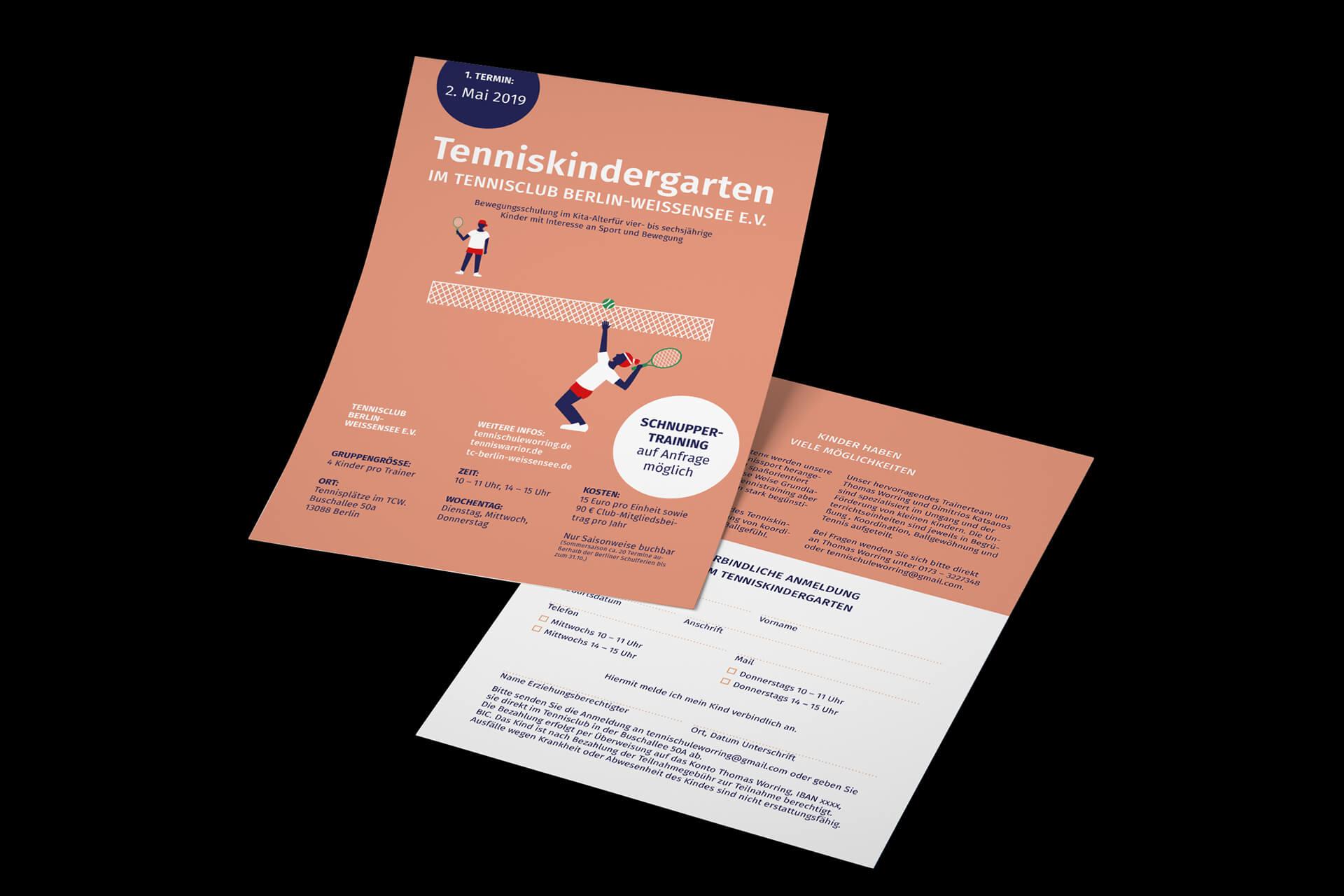 Denken und Handeln Flyer Tennis Kindergarten Tennisclub Berlin Weißensee Illustration Infografik Layoud Grafik Design Gestaltung Printgestaltung Visuelle Kommunikation Print Werbung
