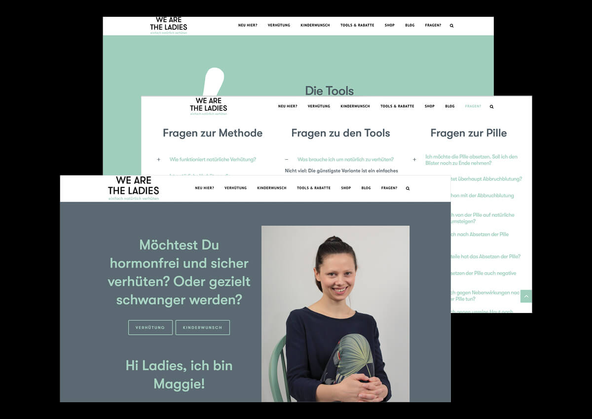 We are the Ladies wearetheladies.de Logo, Redesign, UX Design, Screen-Design, Corporate Identity, Visuelle Identität, Grafik Design, Gestaltung, Responsive