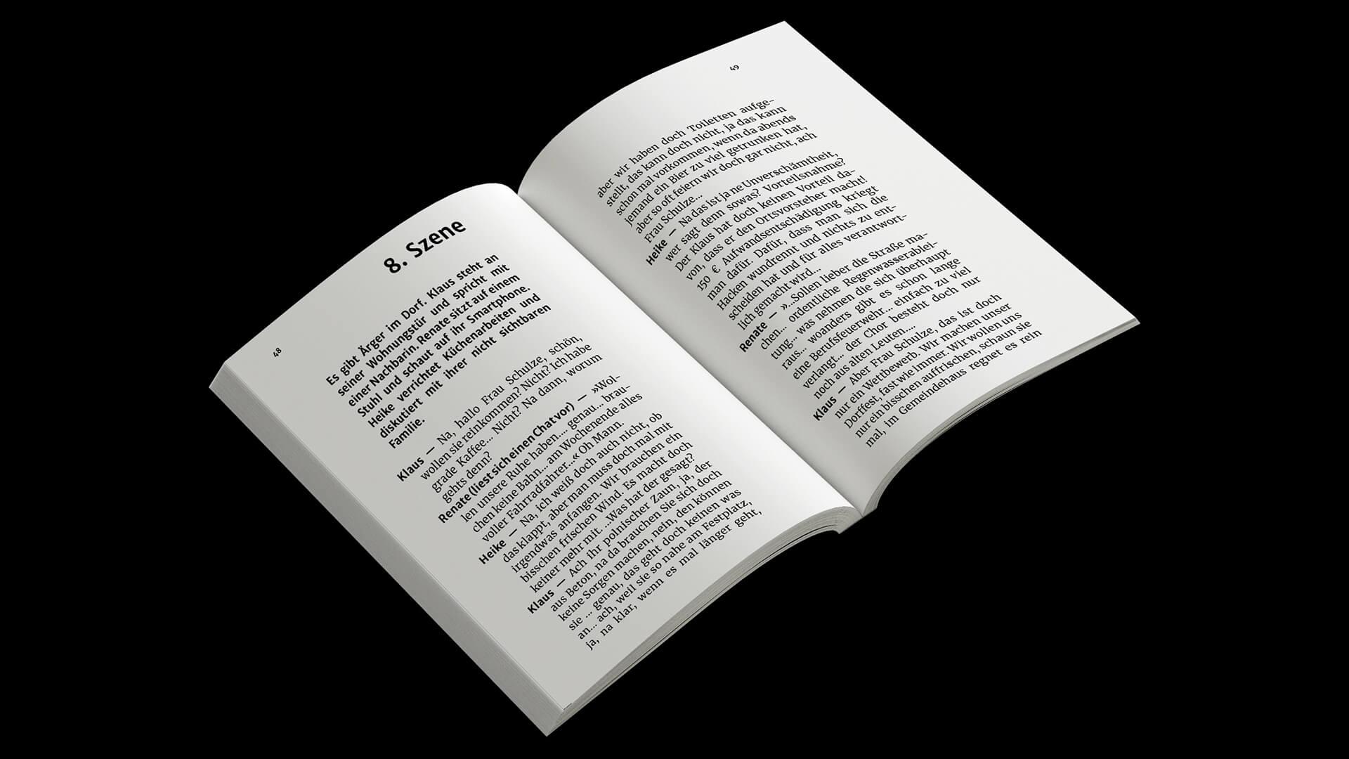 Denken & Handeln, Fine Heininger, Buchgestaltung, Cover, Innensatz, Typografie, Layout, Reinzeichnung, Druckvorstufe, Aufland Verlag, Andreas Neufeld, Die Kümmerer