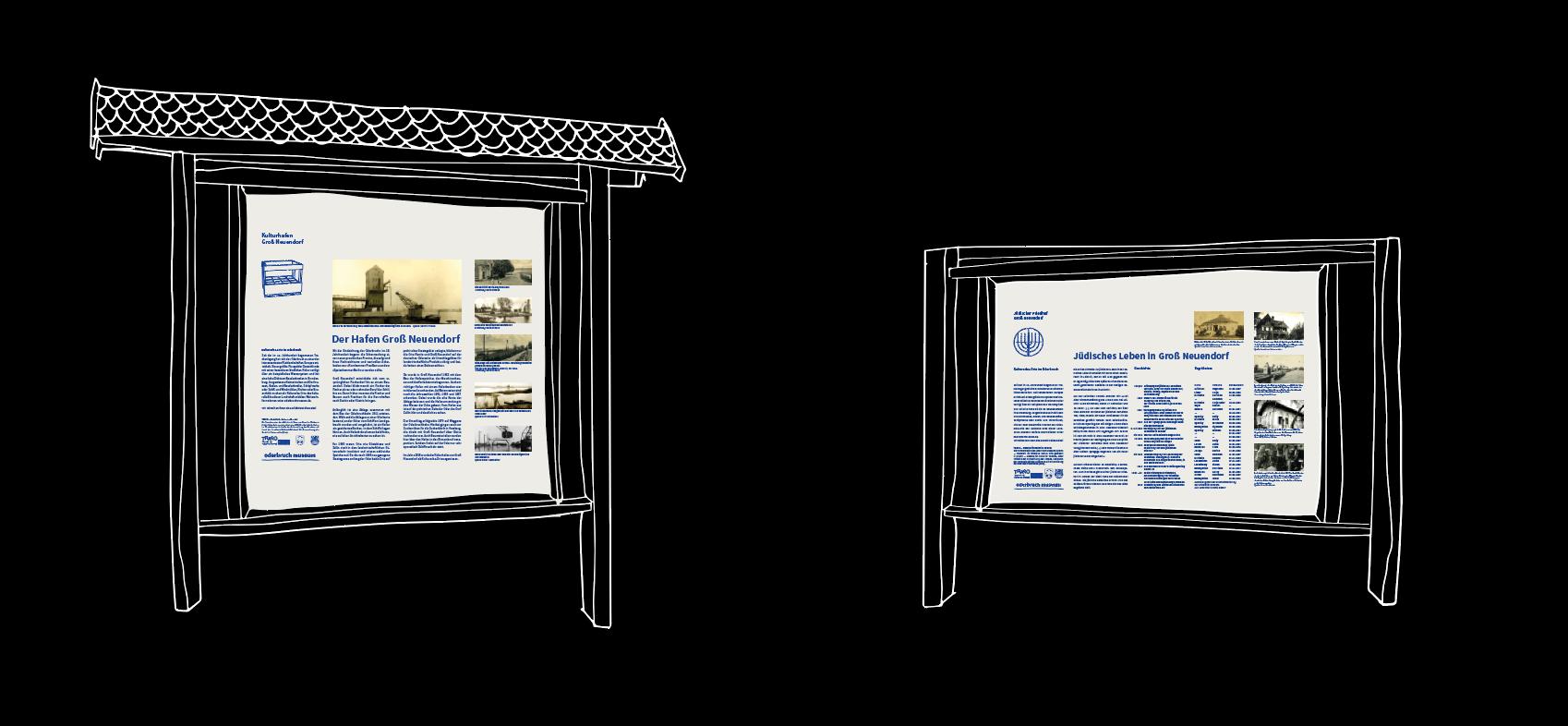 Oderbruch Museum Altranft, Logo, CI, Corporate Identity, Visuelle Identität, Schilder, Beschilderung, Hinweisschilder, Infotafeln