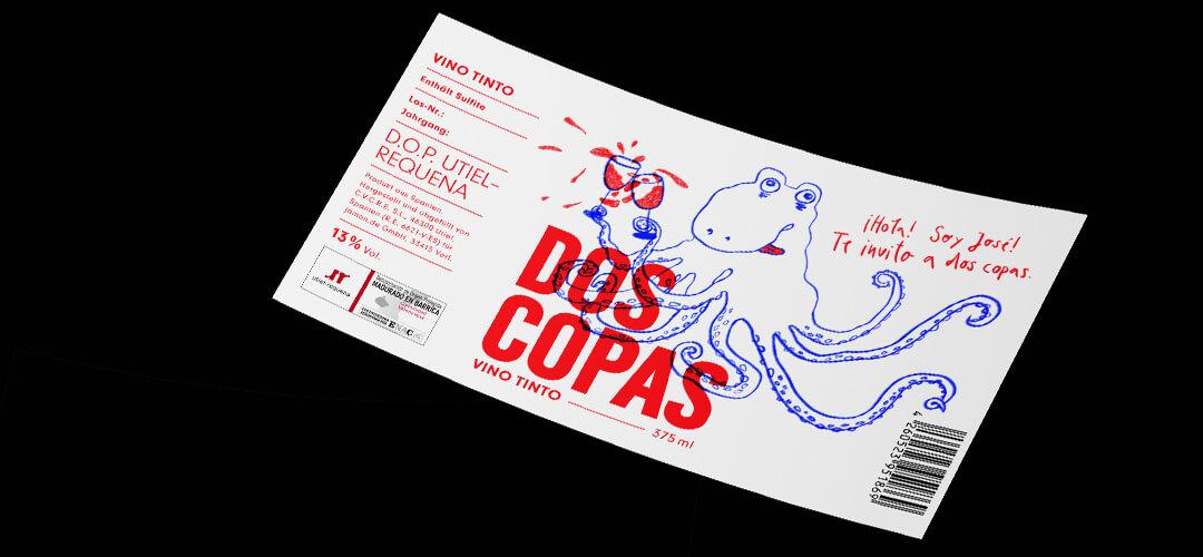 »Dos Coppas« – Illustration auf Weinflaschen-Etikett, Marcato Design, Denken & Handeln, Fine Heininger,